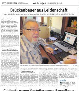 Roger Vallet-Sandre, dans le Waiblingen-Kreuszeitung du 4 janvier 2014.