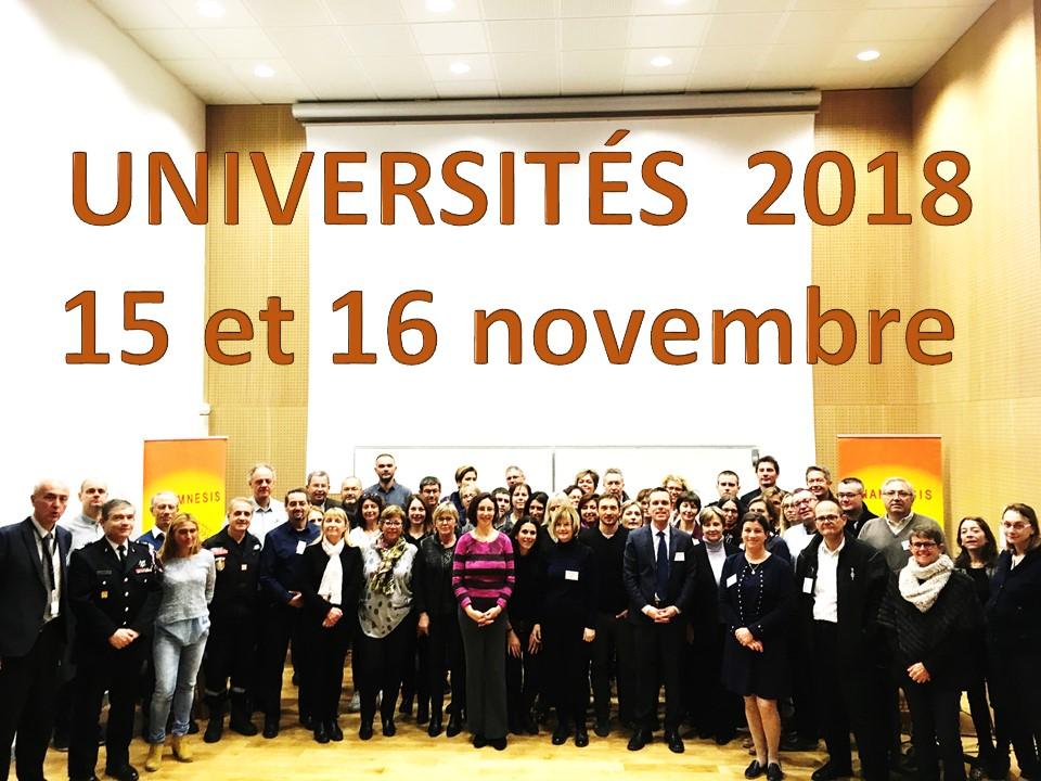 Universités d'ALPHASIS 15 & 16 novembre 2018 : inscrivez-vous !