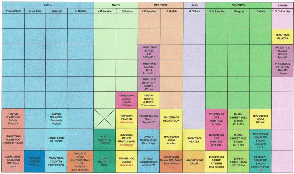 Planning Mouvement Corps et danse