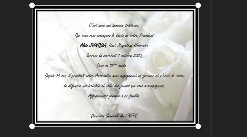 Décès de notre Président Alain JUNQUA